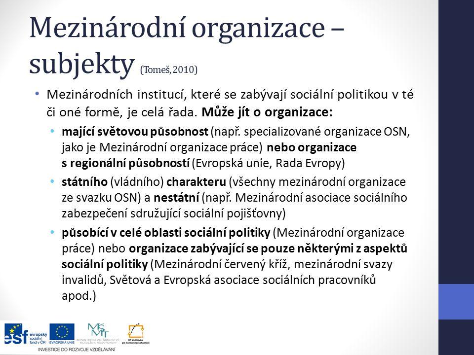 Mezinárodní organizace – subjekty (Tomeš, 2010) Mezinárodních institucí, které se zabývají sociální politikou v té či oné formě, je celá řada.