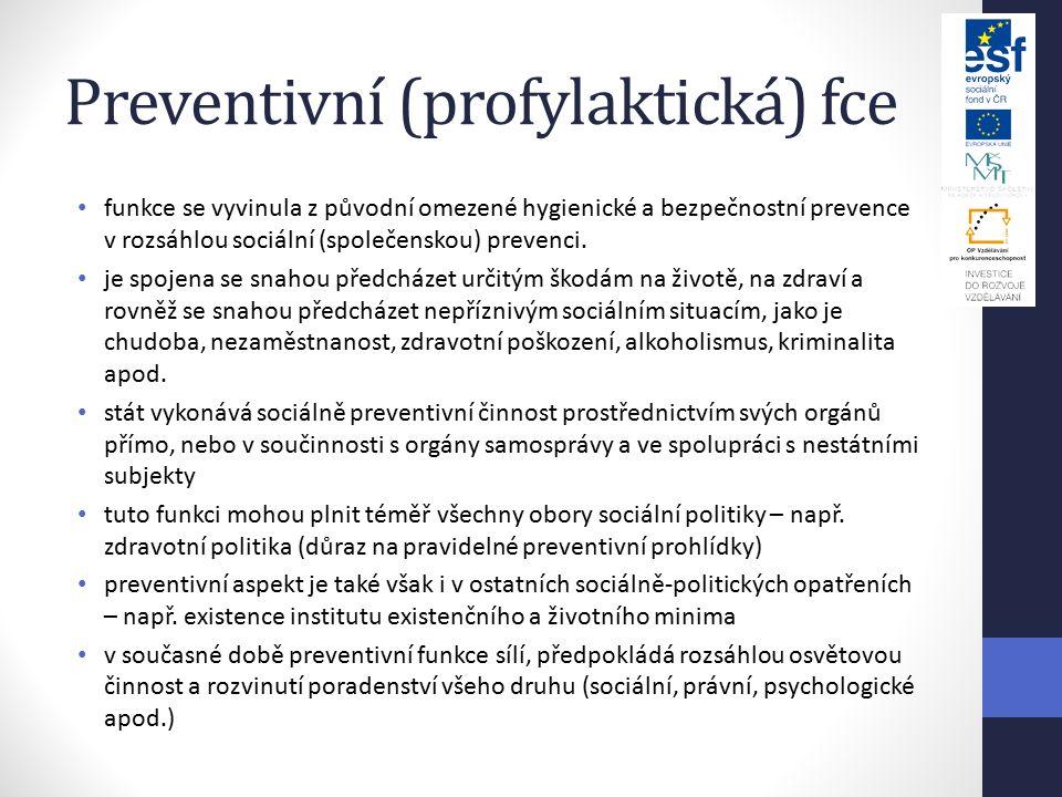 Preventivní (profylaktická) fce funkce se vyvinula z původní omezené hygienické a bezpečnostní prevence v rozsáhlou sociální (společenskou) prevenci.