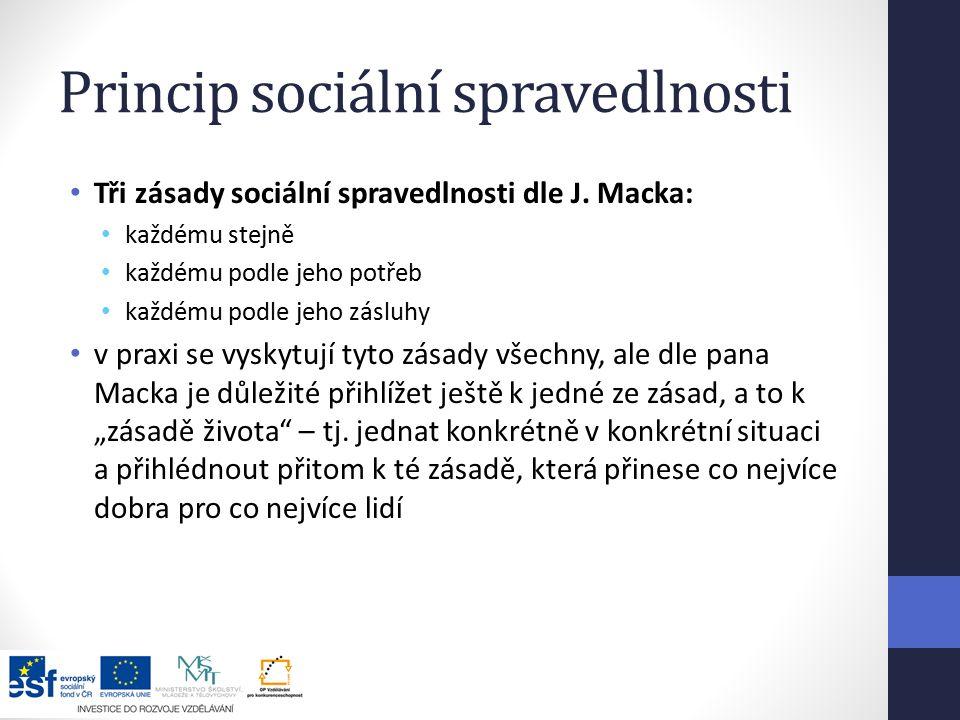 Princip sociální spravedlnosti Tři zásady sociální spravedlnosti dle J.