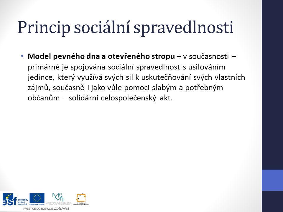 Princip sociální spravedlnosti Model pevného dna a otevřeného stropu – v současnosti – primárně je spojována sociální spravedlnost s usilováním jedince, který využívá svých sil k uskutečňování svých vlastních zájmů, současně i jako vůle pomoci slabým a potřebným občanům – solidární celospolečenský akt.
