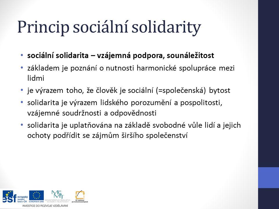 Princip sociální solidarity sociální solidarita – vzájemná podpora, sounáležitost základem je poznání o nutnosti harmonické spolupráce mezi lidmi je výrazem toho, že člověk je sociální (=společenská) bytost solidarita je výrazem lidského porozumění a pospolitosti, vzájemné soudržnosti a odpovědnosti solidarita je uplatňována na základě svobodné vůle lidí a jejich ochoty podřídit se zájmům širšího společenství