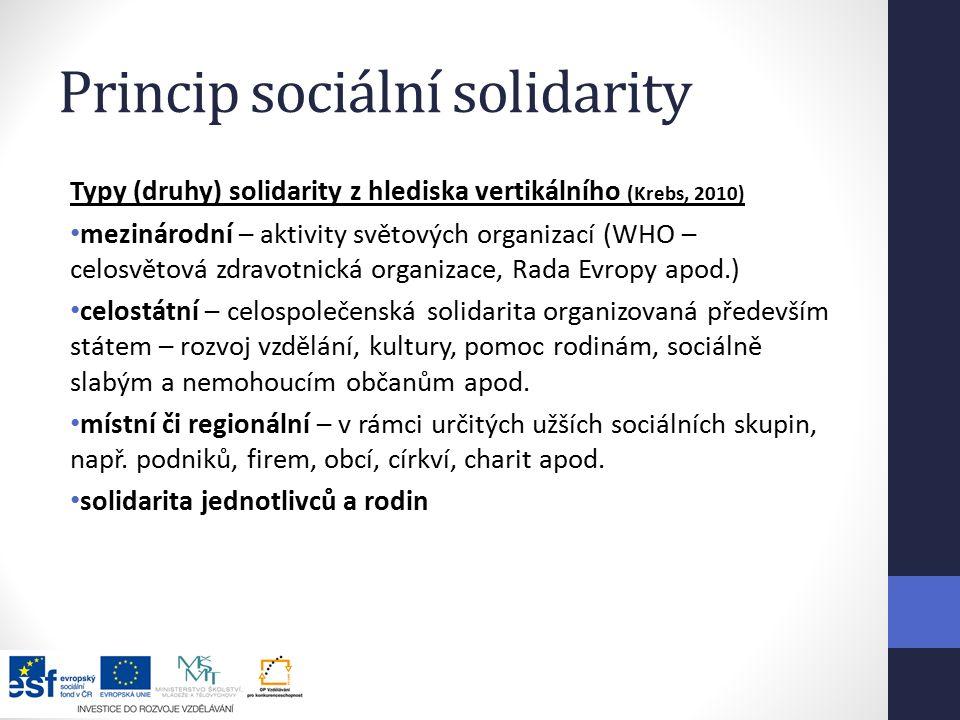 Princip sociální solidarity Typy (druhy) solidarity z hlediska vertikálního (Krebs, 2010) mezinárodní – aktivity světových organizací (WHO – celosvětová zdravotnická organizace, Rada Evropy apod.) celostátní – celospolečenská solidarita organizovaná především státem – rozvoj vzdělání, kultury, pomoc rodinám, sociálně slabým a nemohoucím občanům apod.