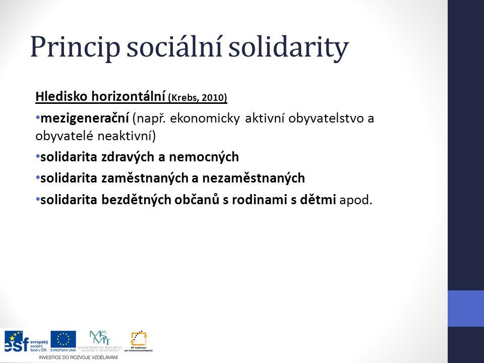 Princip sociální solidarity Hledisko horizontální (Krebs, 2010) mezigenerační (např.