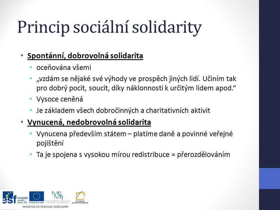 """Princip sociální solidarity Spontánní, dobrovolná solidarita oceňována všemi """"vzdám se nějaké své výhody ve prospěch jiných lidí."""