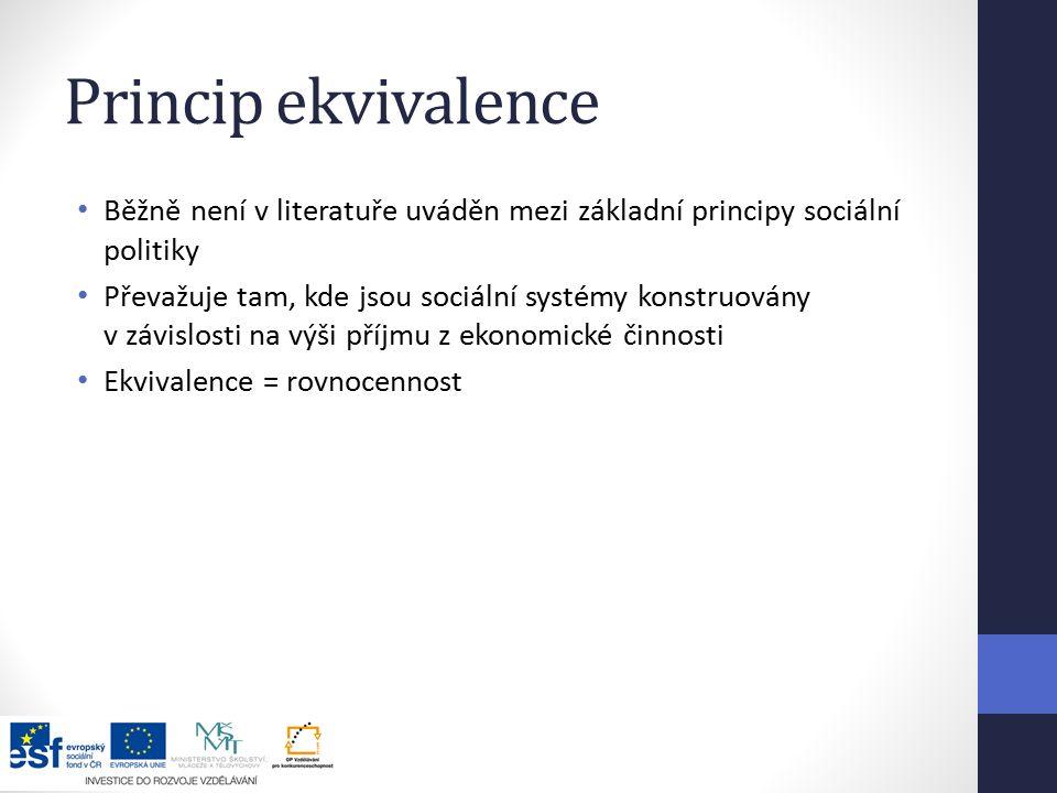 Princip ekvivalence Běžně není v literatuře uváděn mezi základní principy sociální politiky Převažuje tam, kde jsou sociální systémy konstruovány v závislosti na výši příjmu z ekonomické činnosti Ekvivalence = rovnocennost