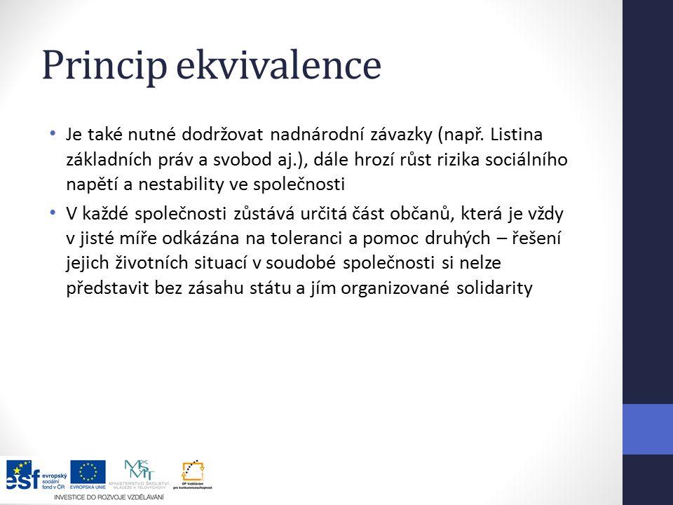 Princip ekvivalence Je také nutné dodržovat nadnárodní závazky (např.