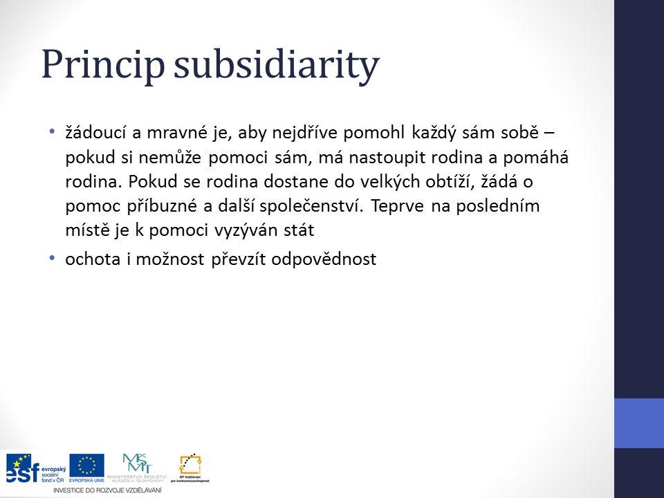 Princip subsidiarity žádoucí a mravné je, aby nejdříve pomohl každý sám sobě – pokud si nemůže pomoci sám, má nastoupit rodina a pomáhá rodina.