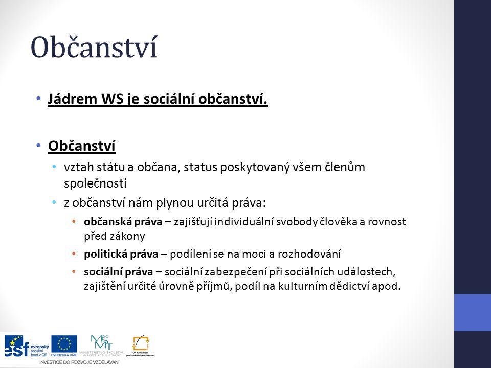 Občanství Jádrem WS je sociální občanství.