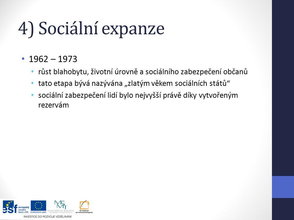 """4) Sociální expanze 1962 – 1973 růst blahobytu, životní úrovně a sociálního zabezpečení občanů tato etapa bývá nazývána """"zlatým věkem sociálních států sociální zabezpečení lidí bylo nejvyšší právě díky vytvořeným rezervám"""