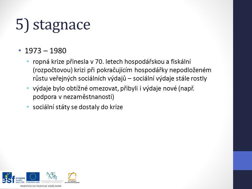 5) stagnace 1973 – 1980 ropná krize přinesla v 70.