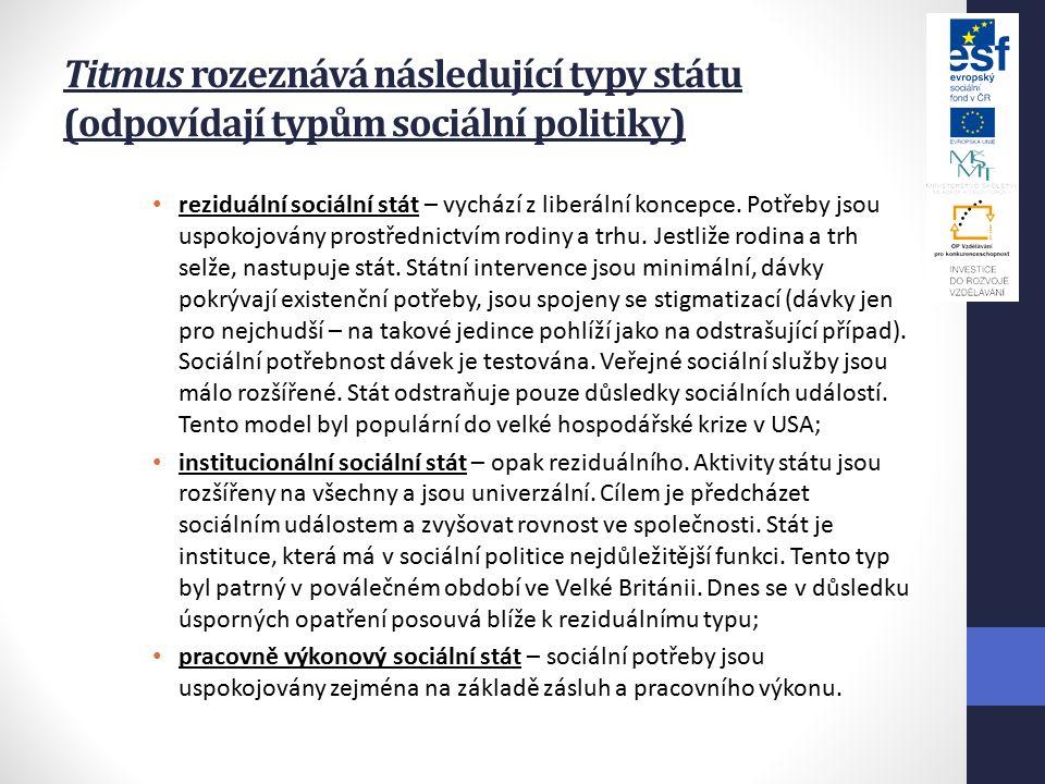 Titmus rozeznává následující typy státu (odpovídají typům sociální politiky) reziduální sociální stát – vychází z liberální koncepce.