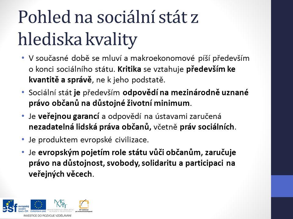 Pohled na sociální stát z hlediska kvality V současné době se mluví a makroekonomové píší především o konci sociálního státu.