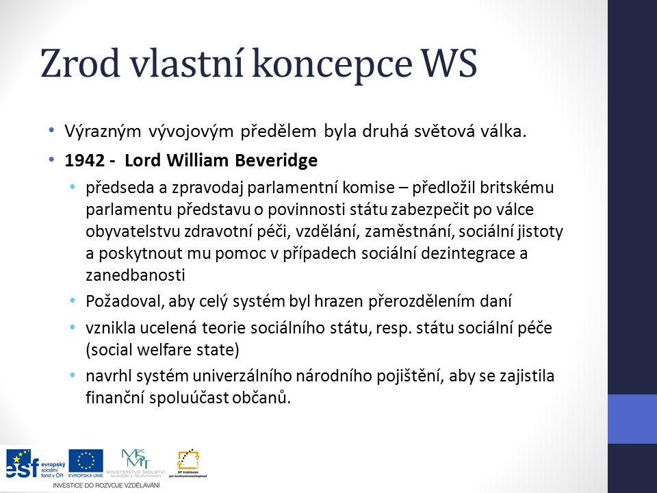 Zrod vlastní koncepce WS Výrazným vývojovým předělem byla druhá světová válka.