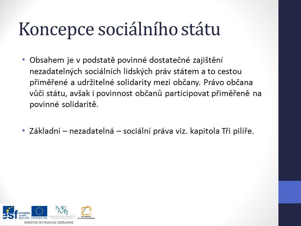 Koncepce sociálního státu Obsahem je v podstatě povinné dostatečné zajištění nezadatelných sociálních lidských práv státem a to cestou přiměřené a udržitelné solidarity mezi občany.
