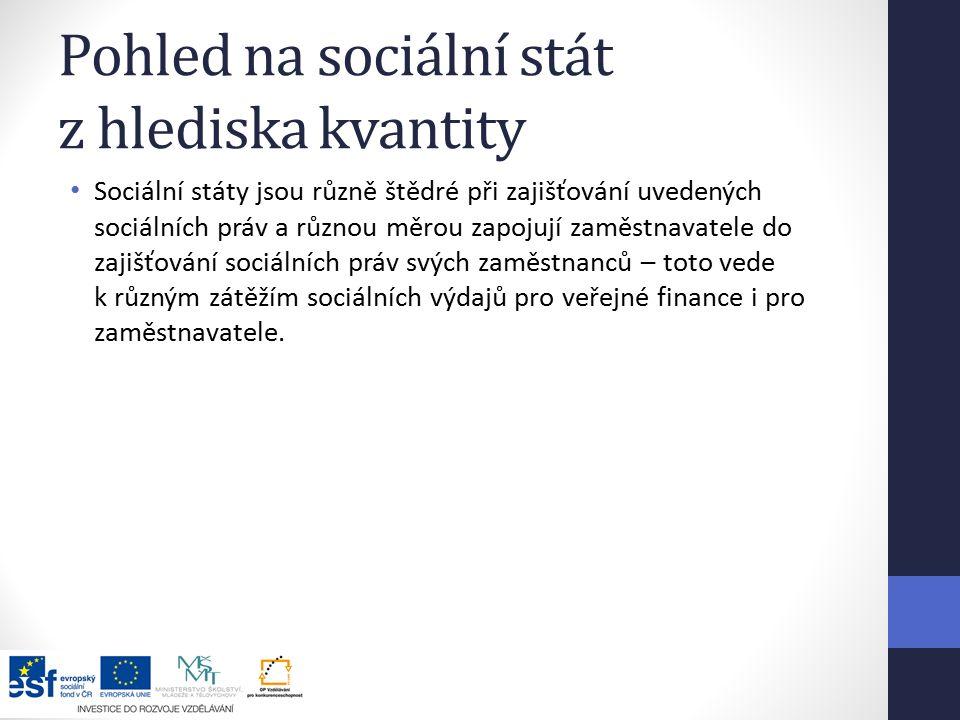 Pohled na sociální stát z hlediska kvantity Sociální státy jsou různě štědré při zajišťování uvedených sociálních práv a různou měrou zapojují zaměstnavatele do zajišťování sociálních práv svých zaměstnanců – toto vede k různým zátěžím sociálních výdajů pro veřejné finance i pro zaměstnavatele.