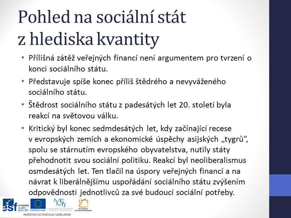 Pohled na sociální stát z hlediska kvantity Přílišná zátěž veřejných financí není argumentem pro tvrzení o konci sociálního státu.