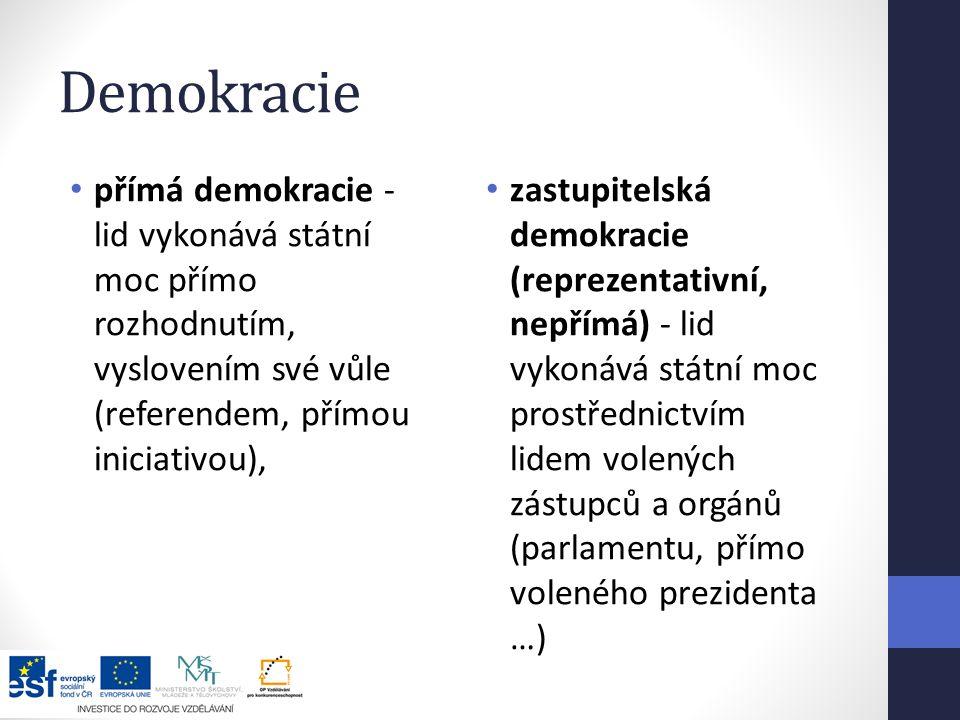 Demokracie přímá demokracie - lid vykonává státní moc přímo rozhodnutím, vyslovením své vůle (referendem, přímou iniciativou), zastupitelská demokracie (reprezentativní, nepřímá) - lid vykonává státní moc prostřednictvím lidem volených zástupců a orgánů (parlamentu, přímo voleného prezidenta …)