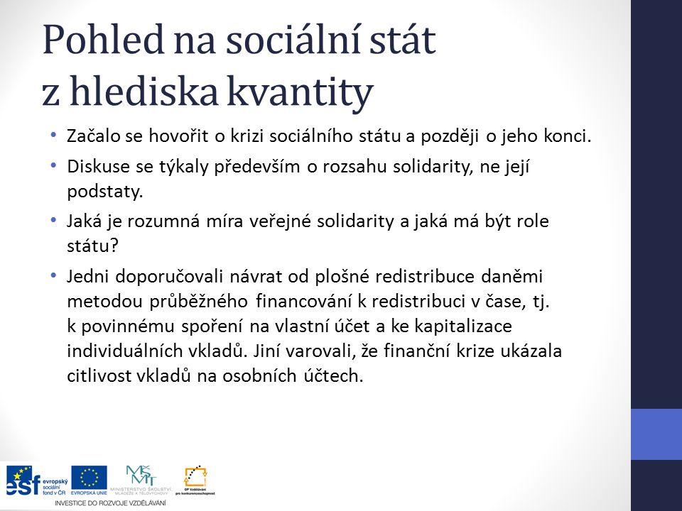 Pohled na sociální stát z hlediska kvantity Začalo se hovořit o krizi sociálního státu a později o jeho konci.