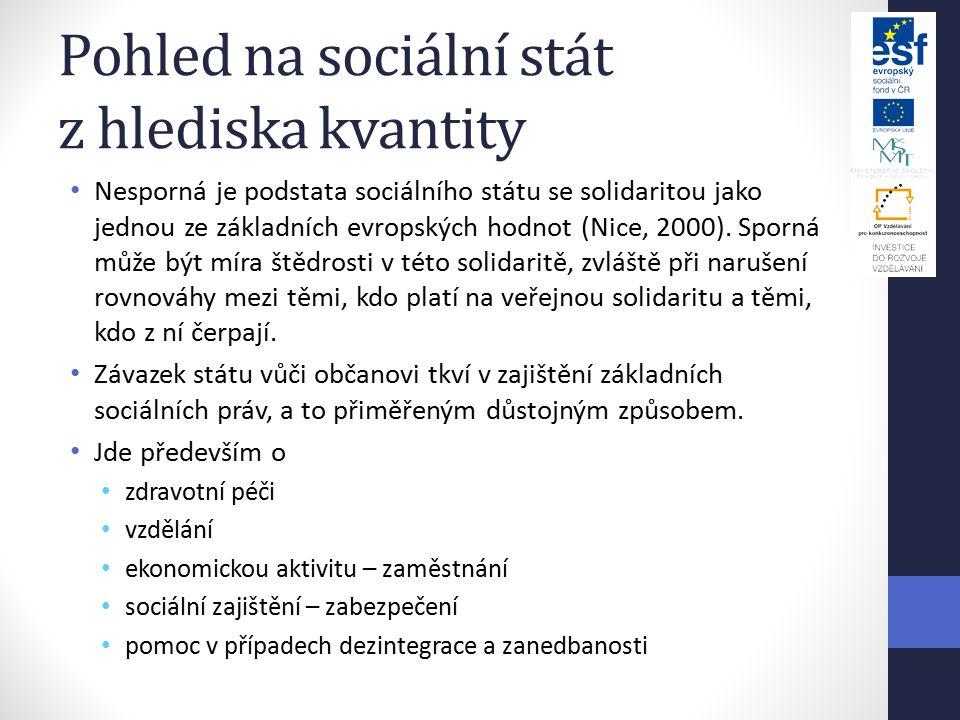 Pohled na sociální stát z hlediska kvantity Nesporná je podstata sociálního státu se solidaritou jako jednou ze základních evropských hodnot (Nice, 2000).