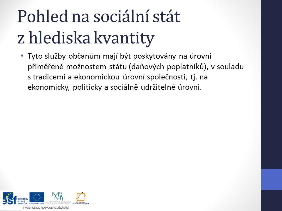 Pohled na sociální stát z hlediska kvantity Tyto služby občanům mají být poskytovány na úrovni přiměřené možnostem státu (daňových poplatníků), v souladu s tradicemi a ekonomickou úrovní společnosti, tj.