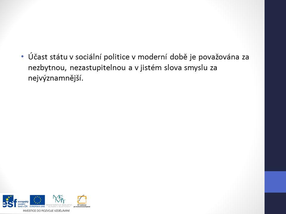 Účast státu v sociální politice v moderní době je považována za nezbytnou, nezastupitelnou a v jistém slova smyslu za nejvýznamnější.