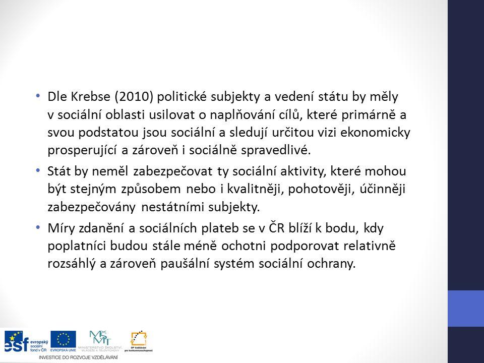 Dle Krebse (2010) politické subjekty a vedení státu by měly v sociální oblasti usilovat o naplňování cílů, které primárně a svou podstatou jsou sociální a sledují určitou vizi ekonomicky prosperující a zároveň i sociálně spravedlivé.