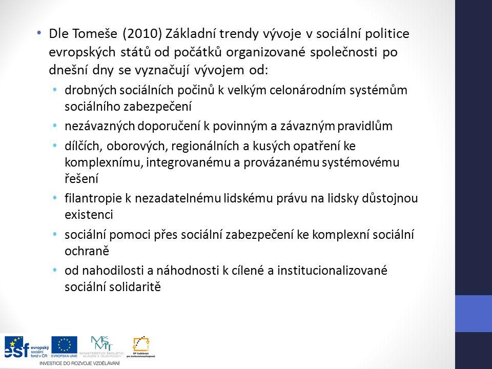 Dle Tomeše (2010) Základní trendy vývoje v sociální politice evropských států od počátků organizované společnosti po dnešní dny se vyznačují vývojem od: drobných sociálních počinů k velkým celonárodním systémům sociálního zabezpečení nezávazných doporučení k povinným a závazným pravidlům dílčích, oborových, regionálních a kusých opatření ke komplexnímu, integrovanému a provázanému systémovému řešení filantropie k nezadatelnému lidskému právu na lidsky důstojnou existenci sociální pomoci přes sociální zabezpečení ke komplexní sociální ochraně od nahodilosti a náhodnosti k cílené a institucionalizované sociální solidaritě