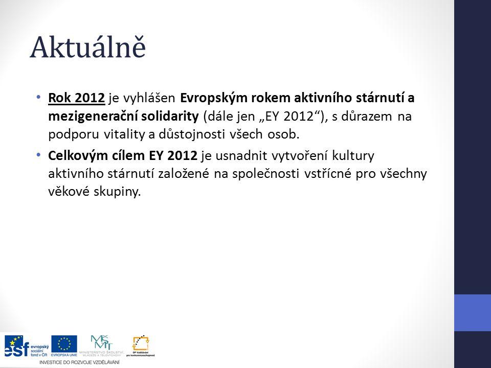 """Aktuálně Rok 2012 je vyhlášen Evropským rokem aktivního stárnutí a mezigenerační solidarity (dále jen """"EY 2012 ), s důrazem na podporu vitality a důstojnosti všech osob."""