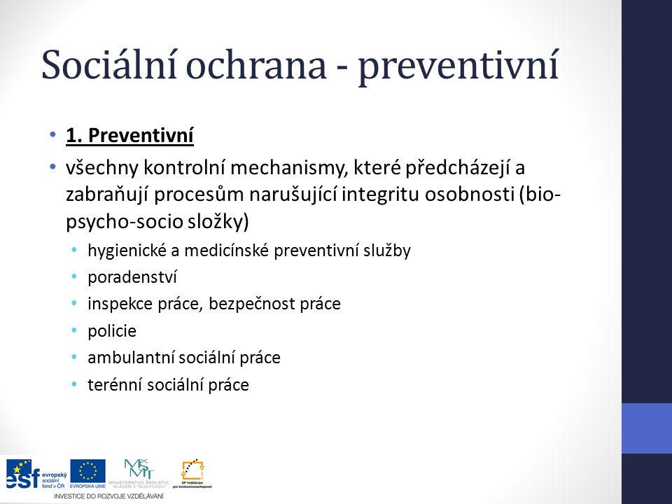 Sociální ochrana - preventivní 1.