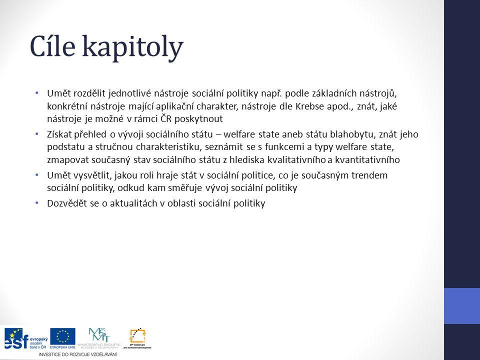 Cíle kapitoly Umět rozdělit jednotlivé nástroje sociální politiky např.