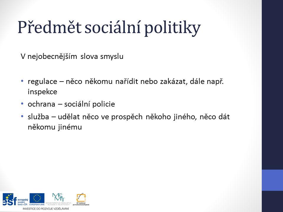 Předmět sociální politiky V nejobecnějším slova smyslu regulace – něco někomu nařídit nebo zakázat, dále např.