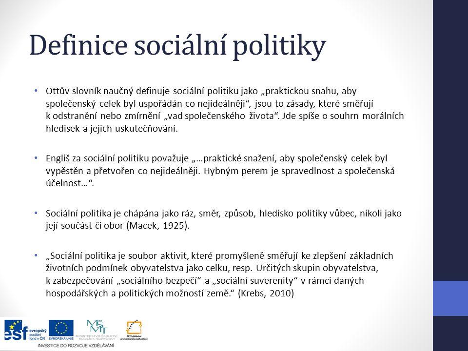 """Definice sociální politiky Ottův slovník naučný definuje sociální politiku jako """"praktickou snahu, aby společenský celek byl uspořádán co nejideálněji , jsou to zásady, které směřují k odstranění nebo zmírnění """"vad společenského života ."""