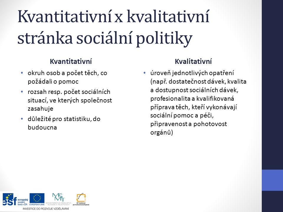 Kvantitativní x kvalitativní stránka sociální politiky Kvantitativní okruh osob a počet těch, co požádali o pomoc rozsah resp.