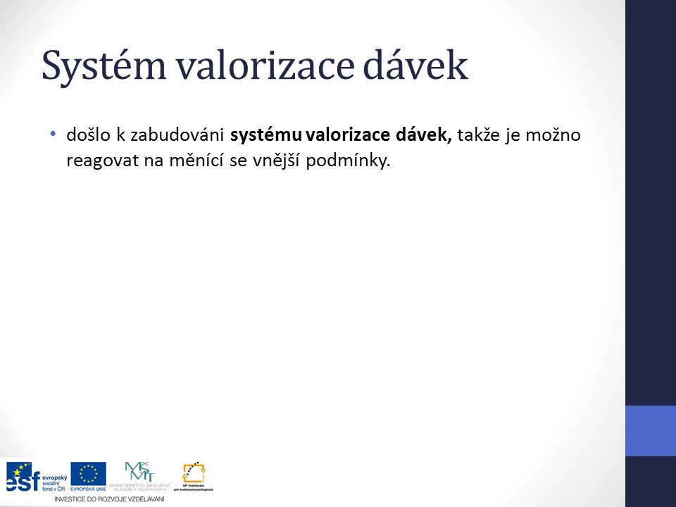 Systém valorizace dávek došlo k zabudováni systému valorizace dávek, takže je možno reagovat na měnící se vnější podmínky.