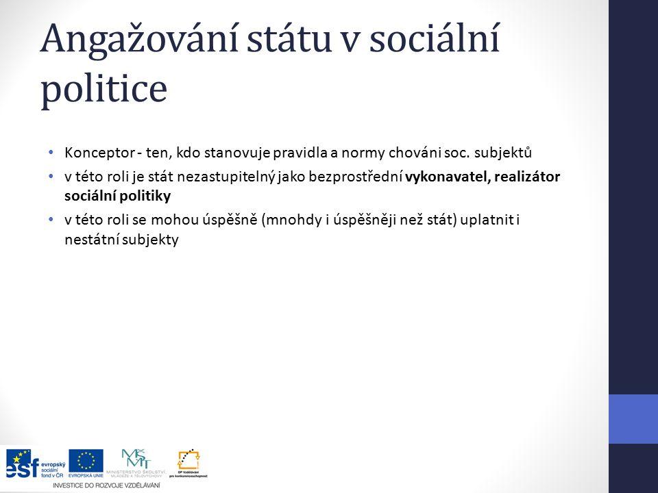 Angažování státu v sociální politice Konceptor - ten, kdo stanovuje pravidla a normy chováni soc.
