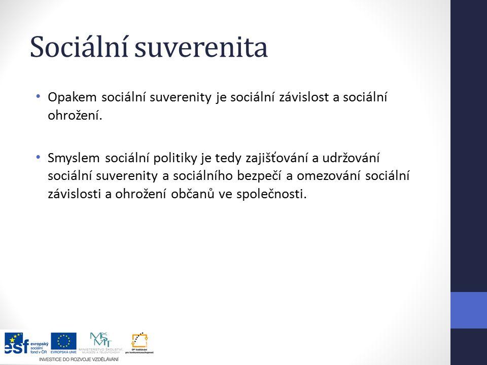 Sociální suverenita Opakem sociální suverenity je sociální závislost a sociální ohrožení.