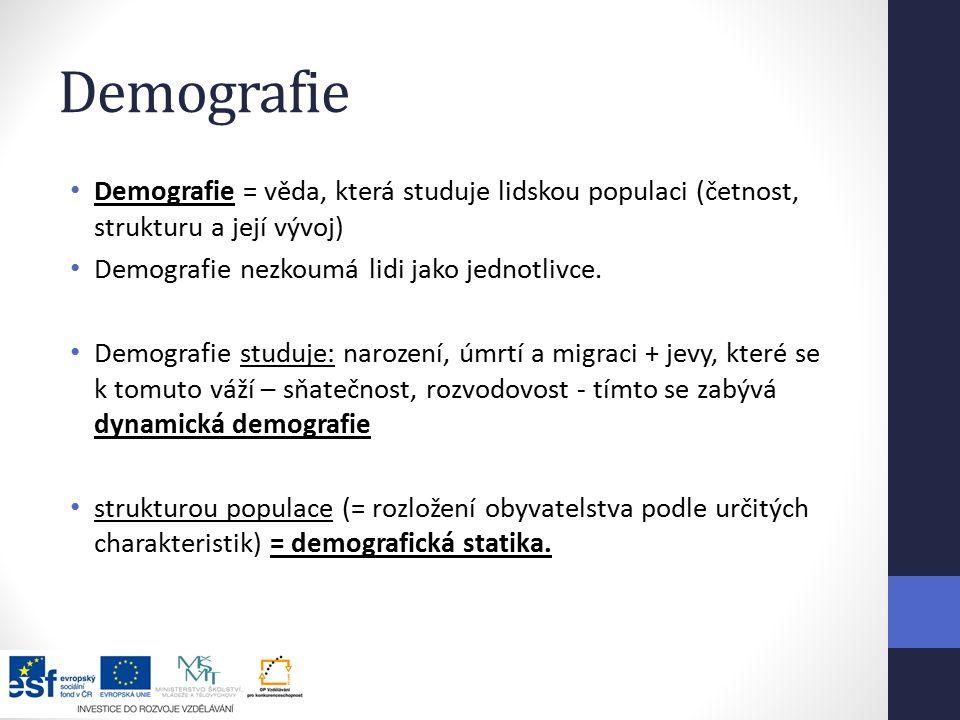 Demografie Demografie = věda, která studuje lidskou populaci (četnost, strukturu a její vývoj) Demografie nezkoumá lidi jako jednotlivce.