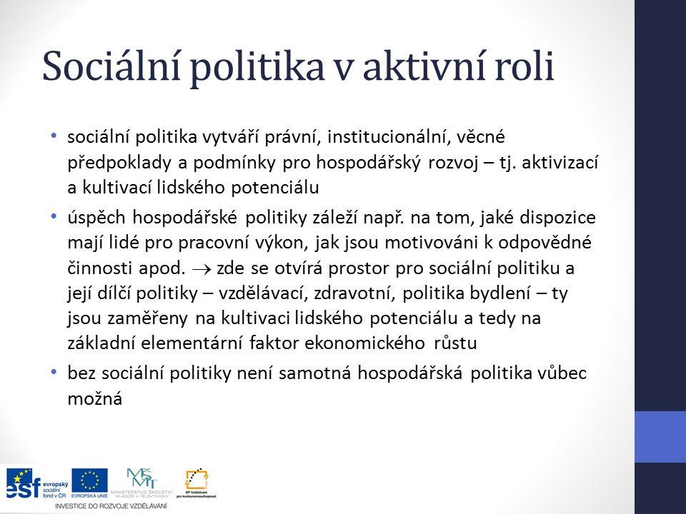 Sociální politika v aktivní roli sociální politika vytváří právní, institucionální, věcné předpoklady a podmínky pro hospodářský rozvoj – tj.