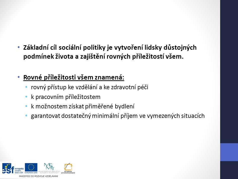 Základní cíl sociální politiky je vytvoření lidsky důstojných podmínek života a zajištění rovných příležitostí všem.
