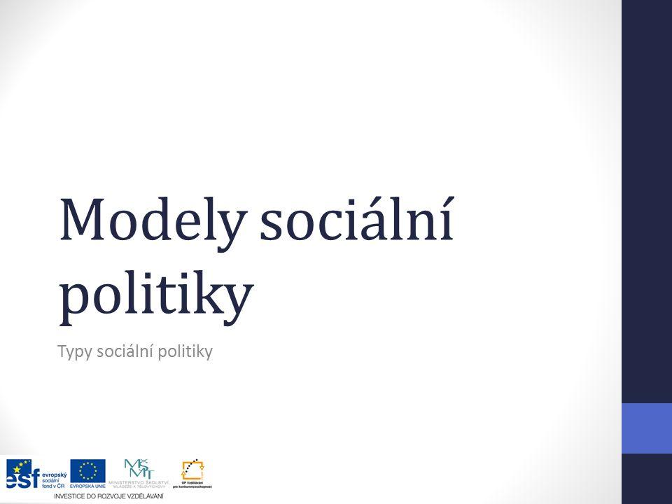 Modely sociální politiky Typy sociální politiky