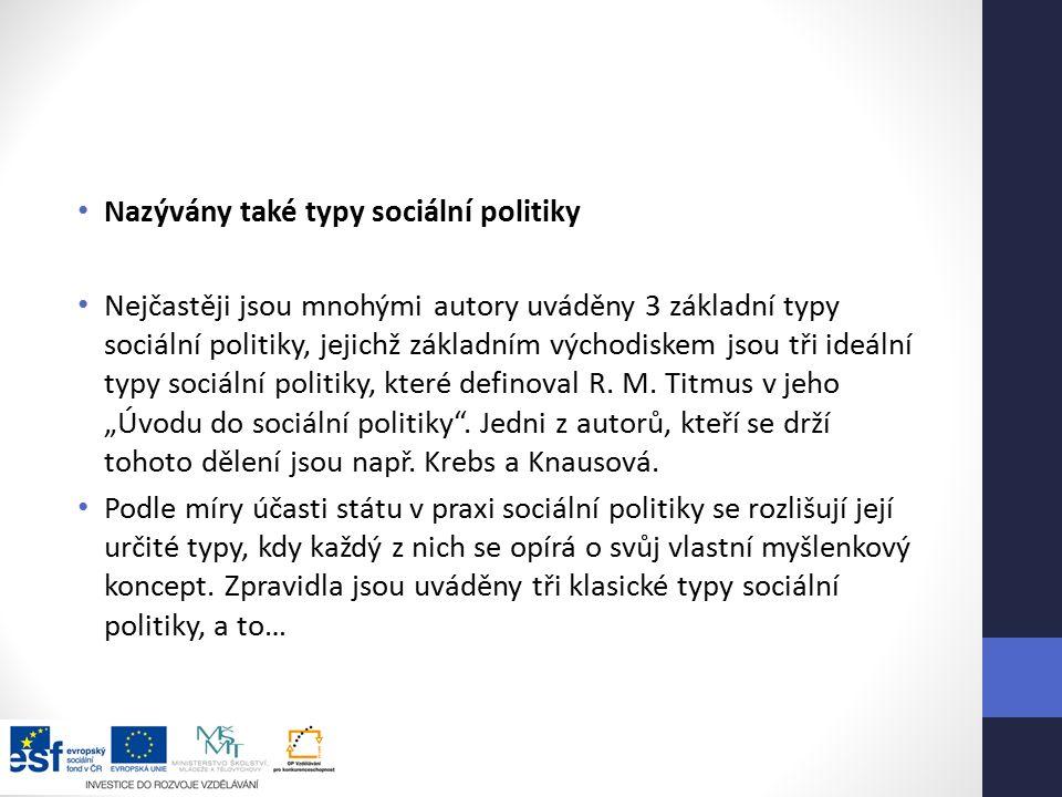Nazývány také typy sociální politiky Nejčastěji jsou mnohými autory uváděny 3 základní typy sociální politiky, jejichž základním východiskem jsou tři ideální typy sociální politiky, které definoval R.