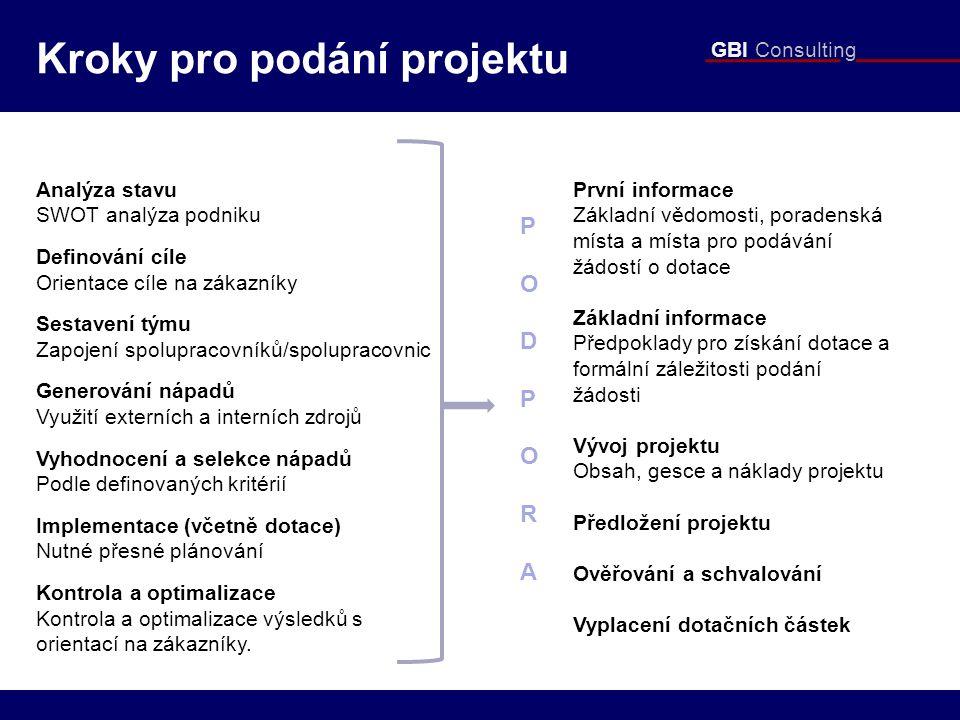 GBI Consulting První informace Základní vědomosti, poradenská místa a místa pro podávání žádostí o dotace Základní informace Předpoklady pro získání d