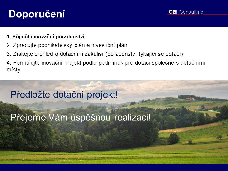 GBI Consulting Doporučení 1. Přijměte inovační poradenství. 2. Zpracujte podnikatelský plán a investiční plán 3. Získejte přehled o dotačním zákulisí