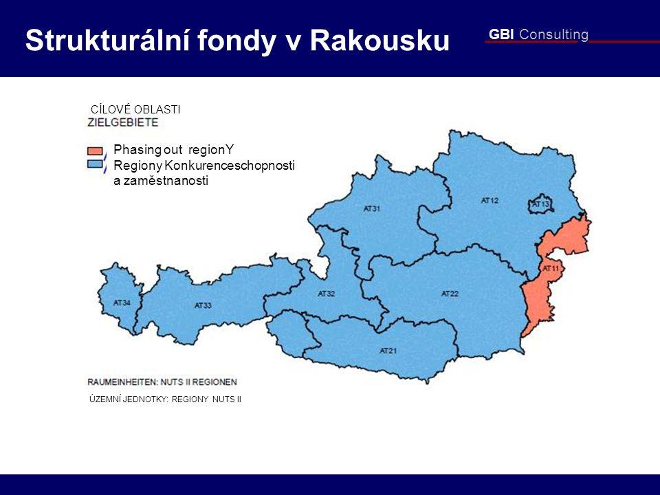 GBI Consulting Strukturální fondy v Rakousku Phasing out regionY Regiony Konkurenceschopnosti a zaměstnanosti CÍLOVÉ OBLASTI ÚZEMNÍ JEDNOTKY: REGIONY