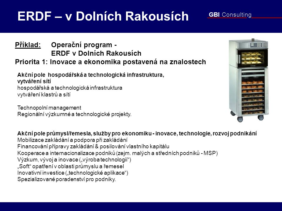GBI Consulting Příklad: Operační program - ERDF v Dolních Rakousích Priorita 1: Inovace a ekonomika postavená na znalostech Akční pole hospodářská a technologická infrastruktura, vytváření sítí hospodářská a technologická infrastruktura vytváření klastrů a sítí Technopolní management Regionální výzkumné a technologické projekty.