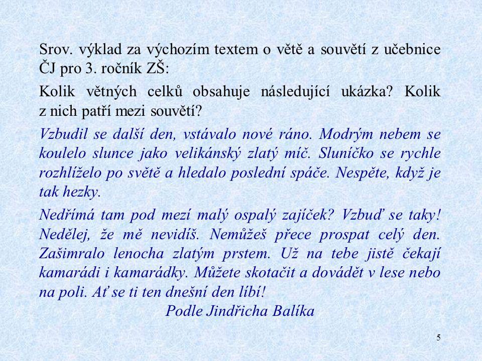 5 Srov. výklad za výchozím textem o větě a souvětí z učebnice ČJ pro 3.