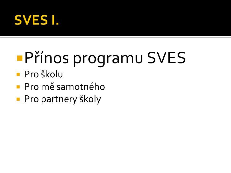  Přínos programu SVES  Pro školu  Pro mě samotného  Pro partnery školy