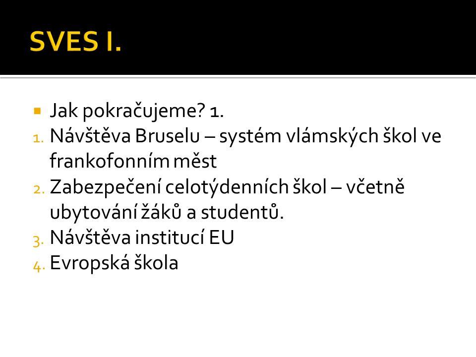  Jak pokračujeme? 1. 1. Návštěva Bruselu – systém vlámských škol ve frankofonním měst 2. Zabezpečení celotýdenních škol – včetně ubytování žáků a stu