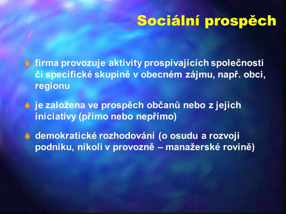 Sociální prospěch  firma provozuje aktivity prospívajících společnosti či specifické skupině v obecném zájmu, např.