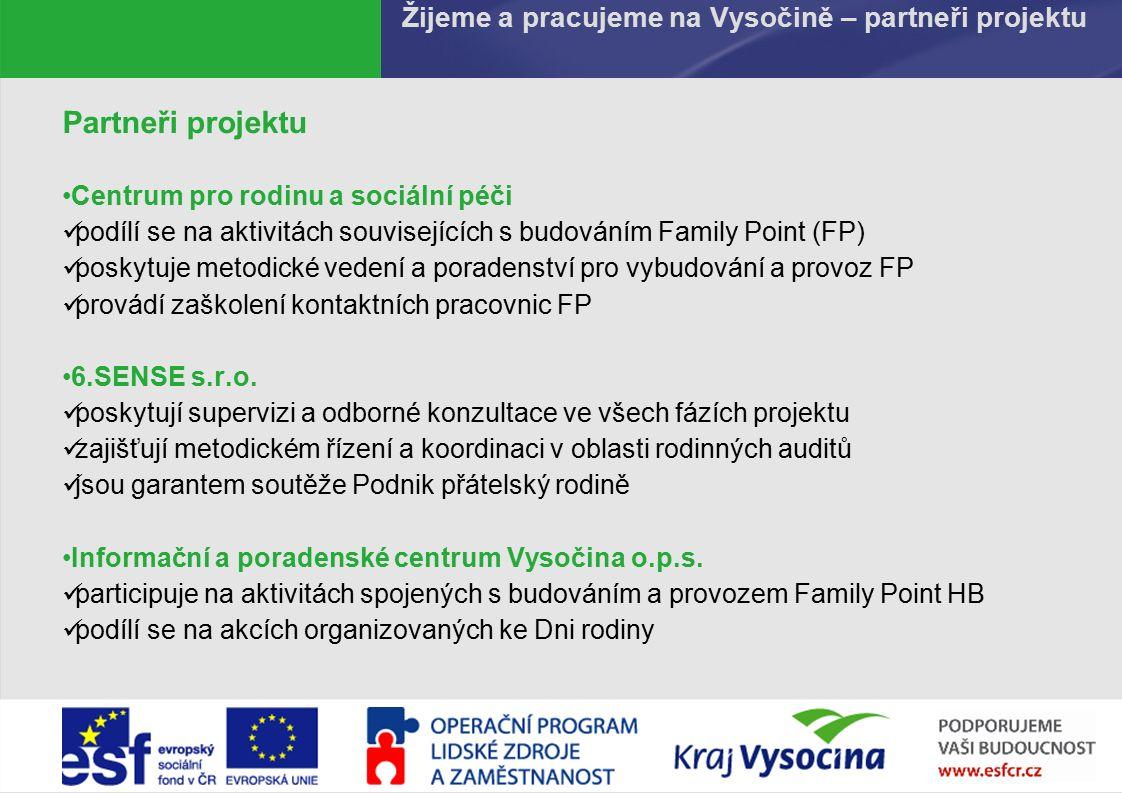 PREZENTUJÍCÍ419.9.2016 Žijeme a pracujeme na Vysočině – partneři projektu Partneři projektu Centrum pro rodinu a sociální péči podílí se na aktivitách